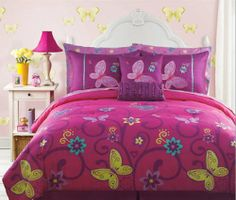 full size bedding for girls | ... Butterfly Teen Girls Full Size Comforter Set (10 Piece Bed In A Bag