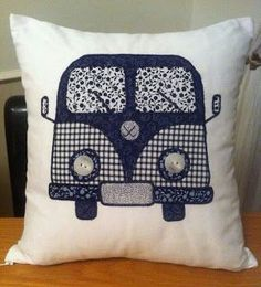 Patchwork Black & White appliqued Campervan by ScatterDesigns Applique Cushions, Patchwork Cushion, Sewing Pillows, Patchwork Quilting, Sewing Appliques, Applique Patterns, Quilt Patterns, Sewing Patterns, Camper Cushions