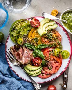 Heirloom Tomatoes, Prosciutto and Pesto Salad on Williams-Sonoma Open Kitchen Bistro Dinnerware by @primalgourmet