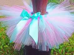 Girl 1st Birthday Outfit Aqua and Pink by BabySquishyCheeks