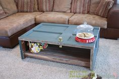 reclaimed door coffee table...clever!!
