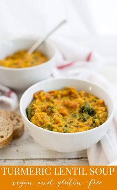 Turmeric Red Lentil Soup! Creamy, thick lentil stew with turmeric, vegetables and kale. Vegan and Gluten-Free.
