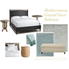 Mediterranean Coastal Guest Bedroom by lindsey-n-graves on Polyvore featuring interior, interiors, interior design, home, home decor, interior decorating, Cost Plus World Market and…