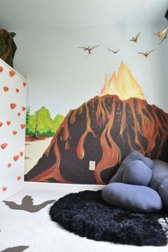 Volcano mural with rock pillows.