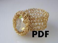 PDF Tutorial, DIY Pattern, Crochet Ring, Oval Swarovsky Ring, DIY Tutorial