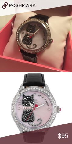 Betsey Johnson Cat Watch Really adorable crystal encrusted Betsey Johnson watch. Mother of pearl face. This has been worn once! In the original box. The box itself has a bit of water damage on the outside, but otherwise is perfect. Betsey Johnson Jewelry