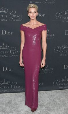 At the 2017 Princess Grace Awards Gala in Los Angeles, Princess Charlene of Monaco shimmered in a gorgeous berry-hued off-the-shoulder column gown by Ralph Lauren. The event, named for the royal's late mother-in-law Grace Kelly, was held at the Beverly Hilton on October 25.