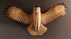 Chouette effraie sculpture en bois art mural Jason par jasontennant