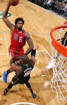 Bucks center Greg Monroe probably doesn't know what planet he's on after being posterized by a DeAndre Jordan dunk.