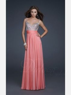 Floor-length Prom Dress | A-line Sweetheart Floor-length Chiffon Coral Prom Dress - Didobridal