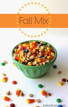 A mix of roasted peanuts, candy corn and chocolate m&m's. This is the perfect mix for fall!