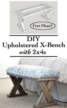 an easy and quick build! This DIY upholstered X-bench using only comes with free plans!Such an easy and quick build! This DIY upholstered X-bench using only comes with free plans! X Bench, Bench Plans, Wood Plans, Diy Bench Seat, Piano Bench, Barn Plans, Garage Plans, Table Plans, End Of Bed Bench