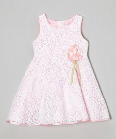 Pink Rosette Lace Overlay Dress - Toddler & Girls