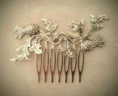 Silver Scottish Thistle Hair Comb Leaf Hair Comb Branch Hair Comb Wedding Hair Piece Bridal Hair Accessories Scottish Wedding - Hairstyles For All Hair Comb Wedding, Wedding Hair Pieces, Bridal Comb, Wedding Veils, Bridal Headpieces, Wedding Garters, Scottish Thistle, Floral Hair, Hair Ornaments