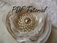 PDF tutorial Glass and crystal ivory pearl brooch by HaniBeading