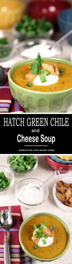 Hatch Green Chile and Cheese Soup is warm and spicy and perfect for the colder months to come. Topped with sour cream for a cool dollop; it's perfect. via @creativculinary