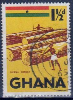 Ghana - Timber on a postage stamp, 1965.