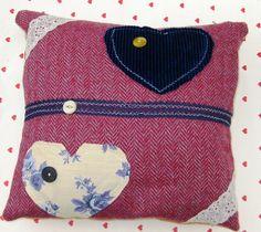 Handmade decorative heart  applique cushion cover 13 inch x 13 inch recycled fabrics via Etsy