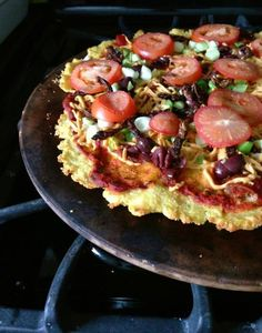 """Polenta Pizza Crust: recipe coming up in my next book, """"Plant-Powered Families"""""""