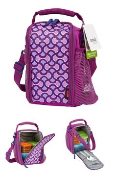 FYI: Small Insulated Lunch Box Comfort Grip Keep Fresh Bottle Holder Light Purple