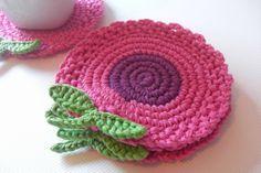 Mari Martin: Portavasos de Flores Rosadas y Moradas - Pink and Purple Flowers Coasters