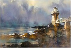 Marshall Point Lighthouse - Maine Thomas W Schaller - Watercolor 15x22 inches  31 August 2015