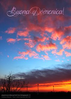 Cartolina con tramonto per augurare Buona Domenica...