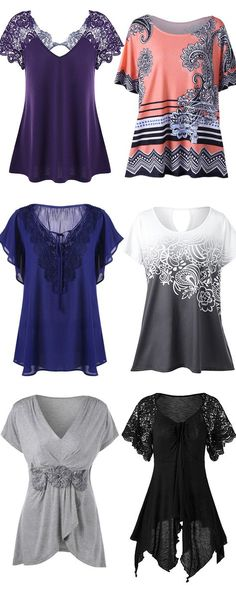 Plus Size Lace Trim Tie Front Blouse,black top,blue blouse