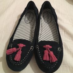 Sperry shoes Navy blue suede Sperry's with dark pink tassels. Super cute! Never worn, just too small. Women's size 6. Sperry Top-Sider Shoes Flats & Loafers