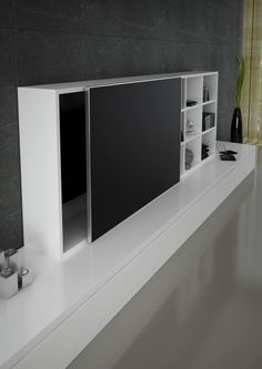 Detalle puerta corredera perfil aluminio i cristal negro mate tv #mueblesmodernos #mueblesdediseño