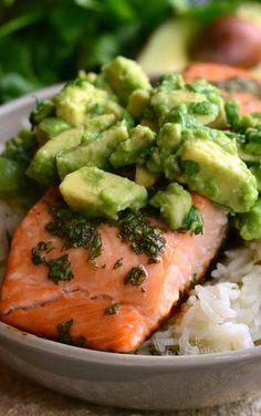 Avocado Salmon Rice Bowl. from willcookforsmiles.com