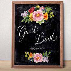 Wedding guest book sign Printable wedding sign Guest book sign printable Chalkboard  Wedding decor Instant download Reception Floral sign