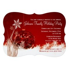 """Red Christmas Ornament Holiday Party Invitations 5"""" X 7"""" Invitation Card"""