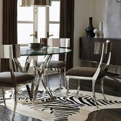 Bernhardt Argent    326-771  table, these chairs ??? 326-542  Ridley chairs - less contemporary,                 not in this photo