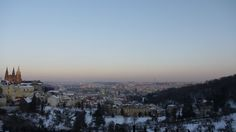 View of St Vitus Cathedral, Prague Castle, and the city of Prague.
