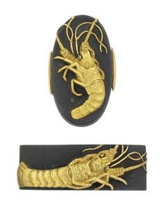 A Shakudo Nanako Pair of Fuchi-Kashira Signed Iwamoto Konkan and kao, Edo Period (18th century) Depicting crayfish in gilt takazogan