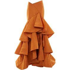 Bidi Bidi Bom Bom Skirt by Rosie Assoulin for Preorder on Moda Operandi Cute Skirts, Midi Skirts, Mode Unique, Jupe Short, Orange Skirt, Ruffle Skirt, Ruffles, Looks Style, Rebecca Taylor