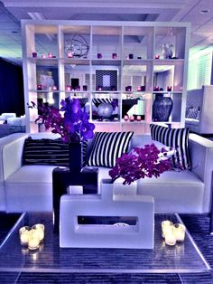 Modern purple lounge with a hint of flying pigs #loungedesigns #winkdesigns