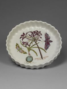 Flan dish, earthenware with printed decoration, designed by Susan William-Ellis, made by Portmeirion Potteries Ltd., England, ca. 1983.