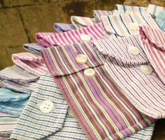DIY Pouches from  cuff of men's cotton button-down shirt  (Craft Inspiration - not tutorial)