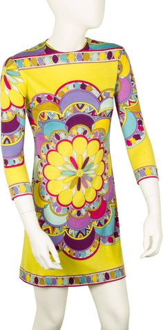 Mod and Optical Vintage 1960s Emilio PUCCI Cashmere and Silk Print Dress. Multicolor mosaic print motif, w/ cropped sleeves and a zipper back closure, together w/ a matching rope belt w/ faceted clear beaded tassels. Labeled: Emilio Pucci. (hva)