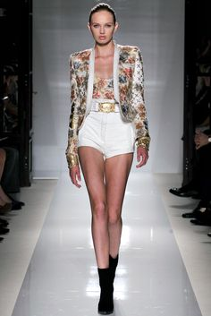 Balmain Spring Summer 2012 SS12 - Floral print - High waisted shorts + belt + jacket with shoulder pads