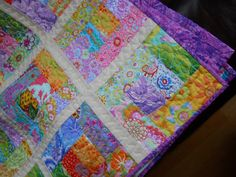 Single bed Patchwork Quilt. Child's quilted lap quilt, Bright and uplifting Throw, Bedlinen. $90.00, via Etsy.