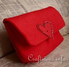 Textile Craft - Felt Red Clutch 1