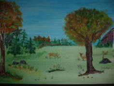 Deer Grazing In Field Watercolor Painting #Art #Sale