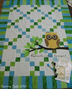 Owl Quilt top by Owl Quilts, Cute Quilts, Sampler Quilts, Small Quilts, Baby Quilts, Amish Quilts, Strip Quilts, Patch Quilt, Quilt Blocks