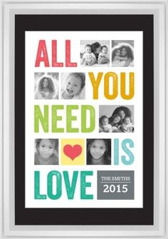 All You Need Is Love Framed Print, White, Classic, White, Black, Single piece, 20 x 30 inches