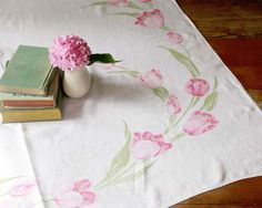 Vintage Linen Tablecloth Cottage Style Linen by TheHeirloomShoppe