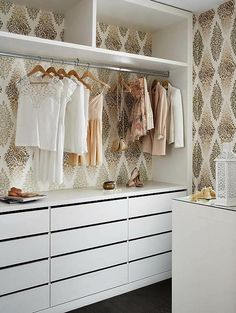 Wall paper in the closet. I love creating a closet with as much detail and style that you would spend on the rest of your room. I painted my closet Hot Pink. Dressing Room Closet, Closet Bedroom, Closet Space, Master Closet, Dressing Rooms, Glam Closet, Bedroom Storage, Closet Redo, Kid Closet