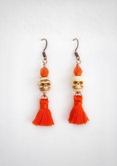 Skull Earrings Dangle Halloween Tassle Costume Jewelry Day of   Etsy Selling Handmade Items, Etsy Handmade, Handmade Gifts, Boho Jewelry, Jewelry Gifts, Unique Jewelry, Etsy Vintage, Vintage Items, Sugar Skull Earrings